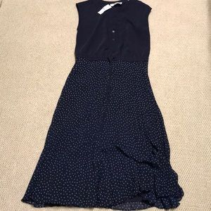 Loft pleated dress, size 0, new with tag